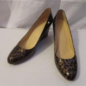 J.CREW BROWN LEOPARD PRINT LEATHER WEDGES SIZE 8.5